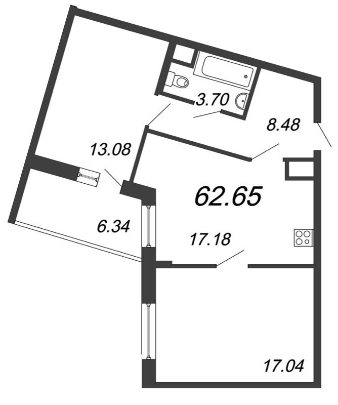 Планировка Трёхкомнатная квартира (Евро) площадью 62.65 кв.м в ЖК «Материк»