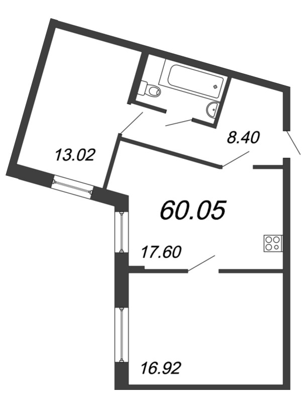 Планировка Трёхкомнатная квартира (Евро) площадью 60.05 кв.м в ЖК «Материк»